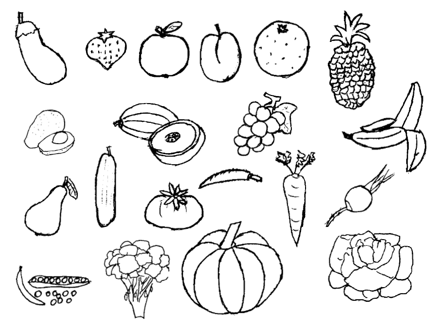 coloring pages vegetables preschoolers eating - photo#18