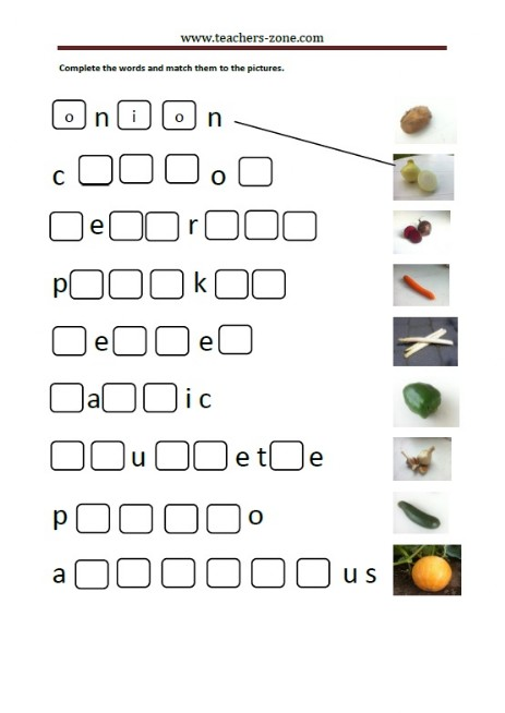 complete the names of the vegetables and match them to the pictures