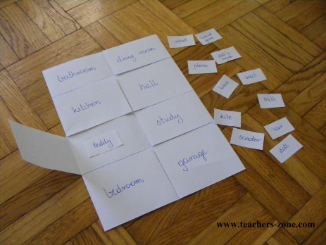 Simple and involving game to practise toys (or school supplies, or pets) and rooms of the house vocabulary.
