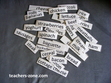 Food wordcards - printables