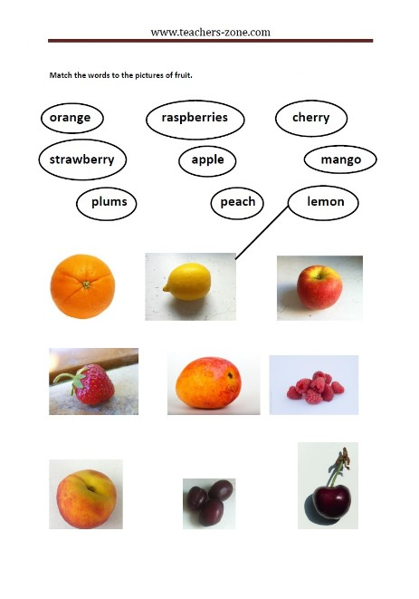 match the fruit and their labels