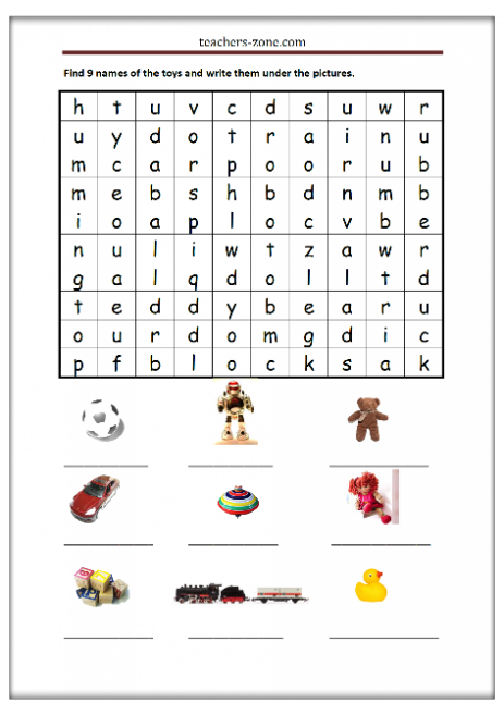 Toys printable worksheet