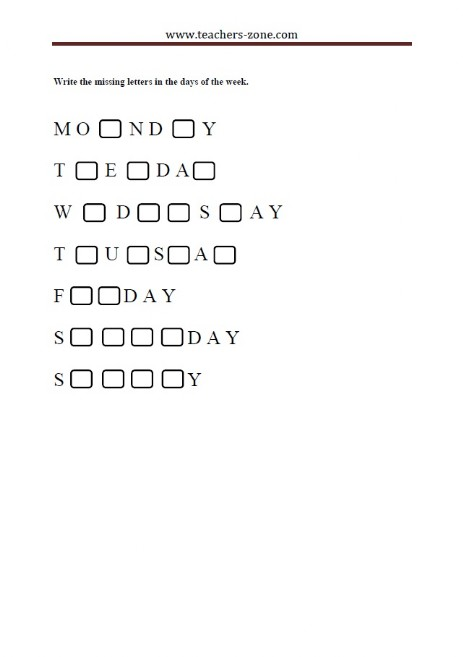 complete the days of the week with the missing letters