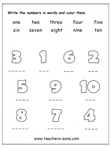 Spell numbers 1-10 - activities for young learners