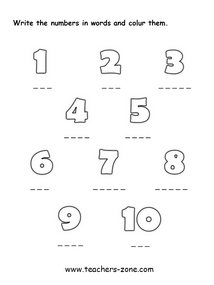 Spell the numbers 1-10 - activity for primary students