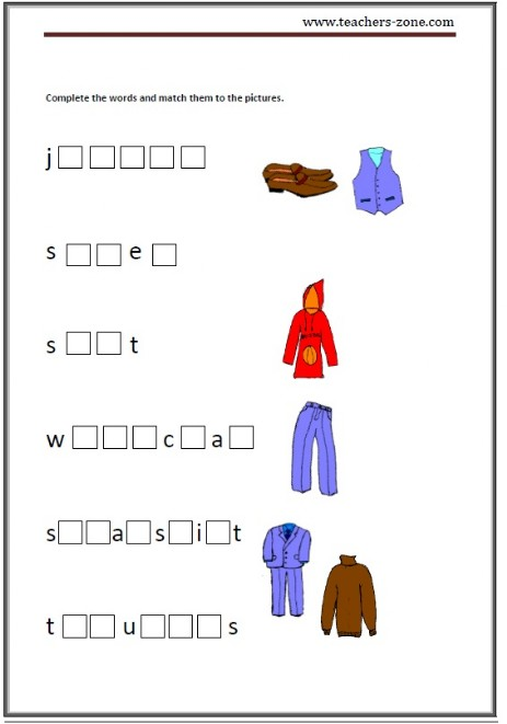 complete the names of the clothes