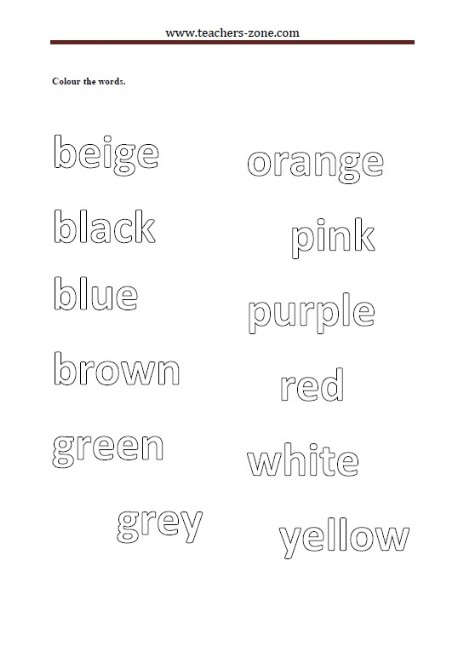 colour the words