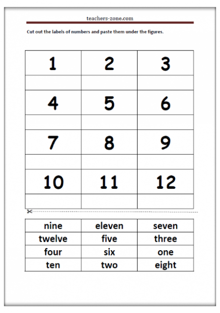 Free printables for numbers 1-12