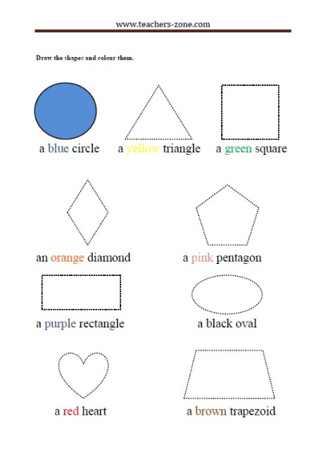 draw and colour the shapes