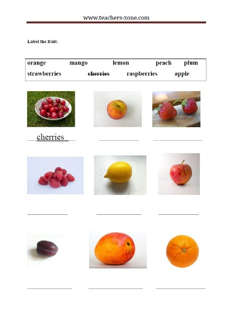 complete the names of the fruit and match them to the pictures