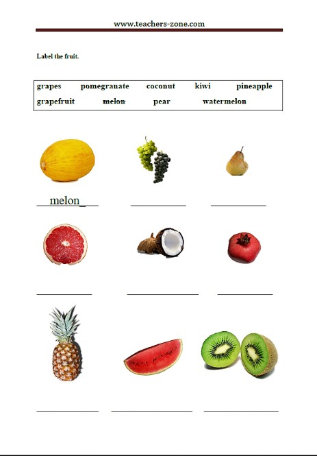 Write the names of fruit