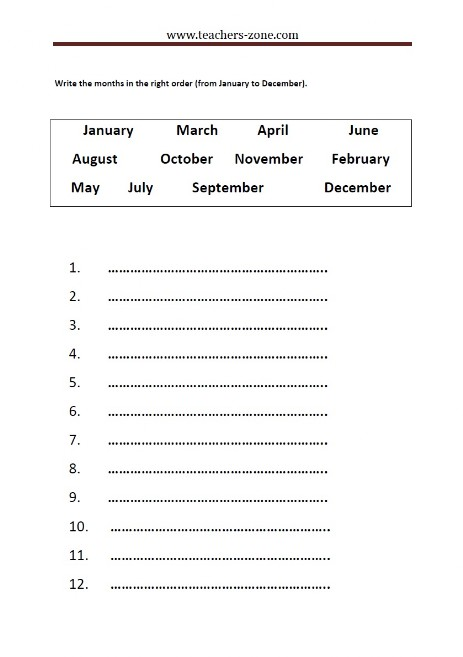 write months of the year in the right order