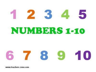 Numbers flashcards for primary students