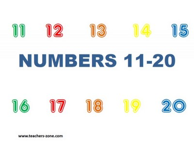 Numbers 1-20 - flashcards for primary students