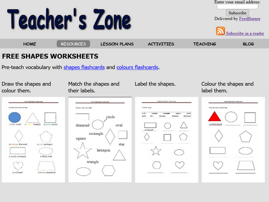 Printables for shapes vocabulary