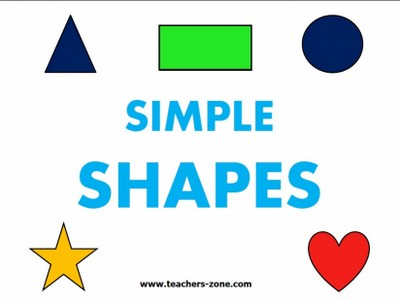 Flashcards for shapes for primary school and kindergarten