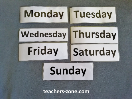 Week days word cards